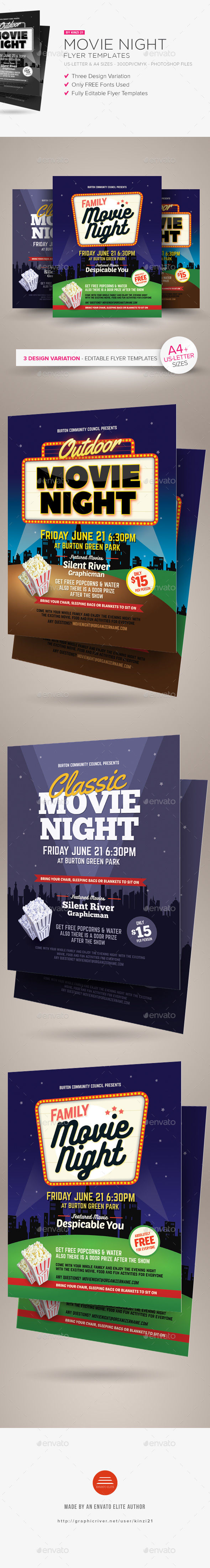 Movie Night Flyer Templates by Kinzi21 (Halloween party flyer)