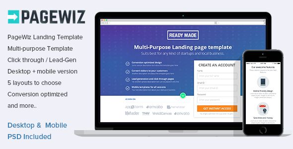 PageWiz Multi-Purpose Landing Template by Surjithctly (landing page template for PageWiz)