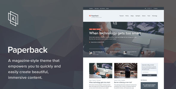Paperback by ArrayThemes (WordPress theme with infinite scrolling)