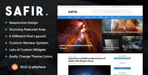 Safir by Phpface (magazine WordPress theme)