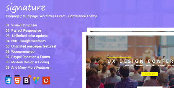 Signature by Ninetheme (event & conference WordPress theme)