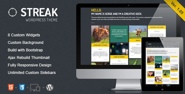Streak by ZERGE (WordPress theme with infinite scrolling)