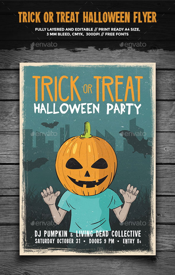 Trick Or Treat Halloween Flyer by GraphicGoods (Halloween party flyer)