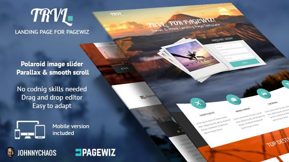 Trvl by Johnnychaos (landing page template for PageWiz)