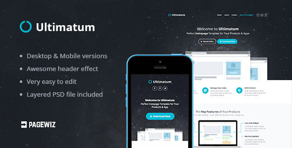 Ultimatum Pagewiz Template by ThemeRevolution (landing page template for PageWiz)