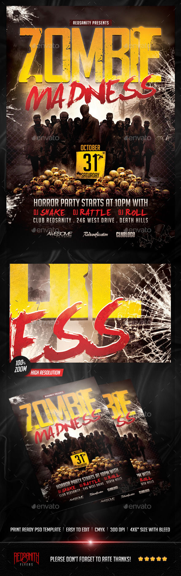 Zombie Madness Flyer by Redsanity (Halloween party flyer)