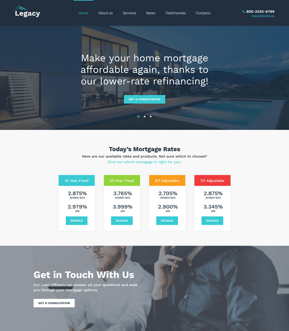 legacy financial wordpress themes