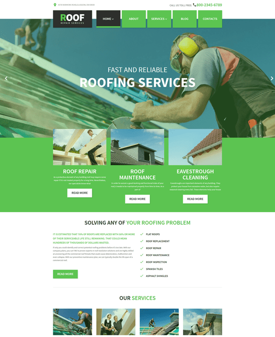 roof construction companies building contractors wordpress themes