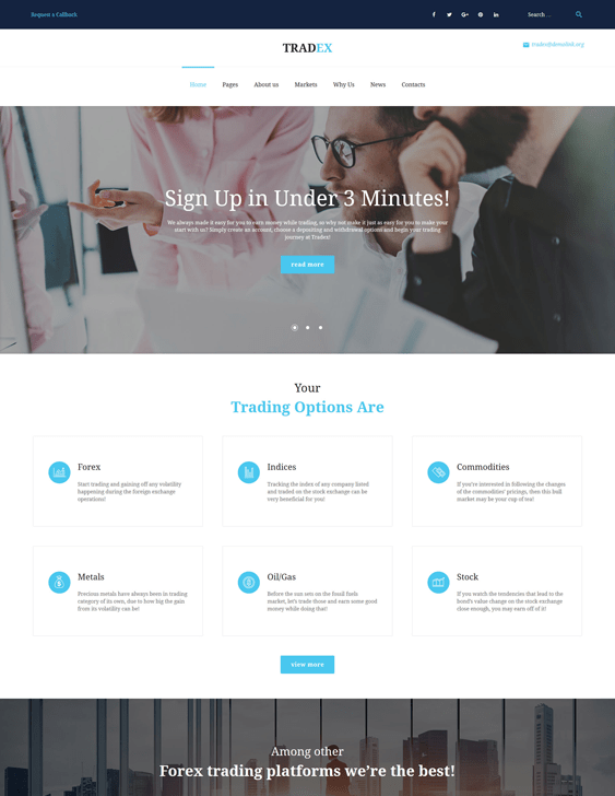 tradex financial wordpress themes