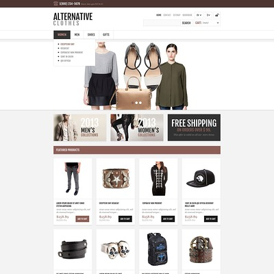 Alternative Apparel Store PrestaShop Theme (PrestaShop theme for womens clothing) Item Picture