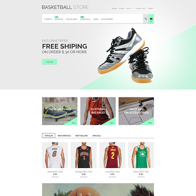 Basketball Uniform PrestaShop Theme (PrestaShop theme for sports stores) Item Picture