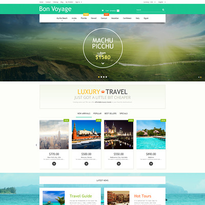 Bon Voyage PrestaShop Theme (PrestaShop theme for travel websites) Item Picture