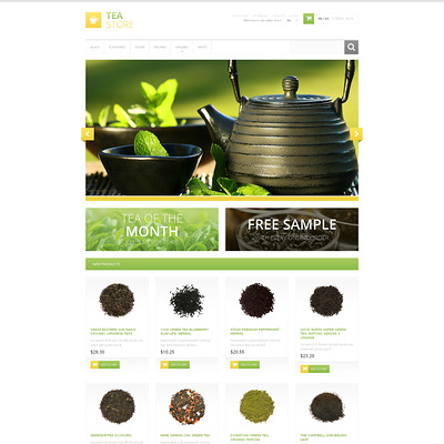 Bracing Tea Store Magento Theme (Magento theme for coffee and tea stores) Item Picture