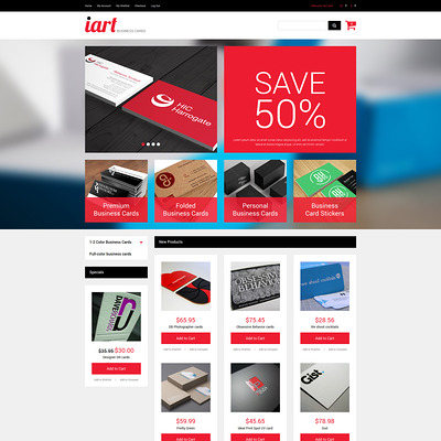 Business Cards Store Magento Theme (Magento theme for office supplies and stationery) Item Picture