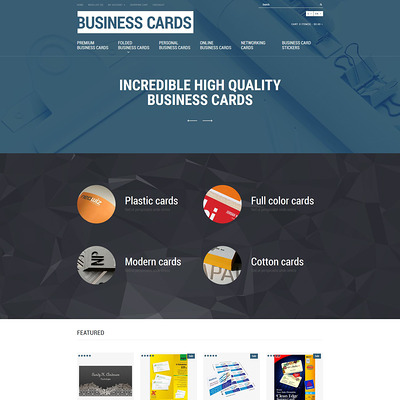 Business Cards Store OpenCart Template (OpenCart theme for stationery, business cards, and office supplies) Item Picture