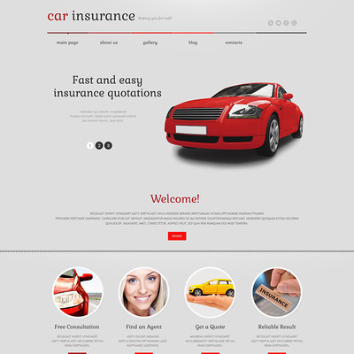 Car Insurance Responsive WordPress Theme (WordPress theme for car, vehicle, and automotive websites) Item Picture