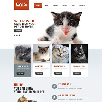 Cat Responsive Drupal Template (Drupal theme for pets and animals) Item Picture