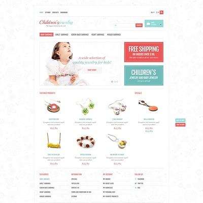 Children's Jewelry Store PrestaShop Theme (PrestaShop theme for jewelry stores) Item Picture