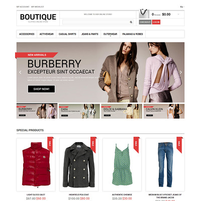 Clothes Boutique Magento Theme (Magento theme for mens and womens clothing) Item Picture