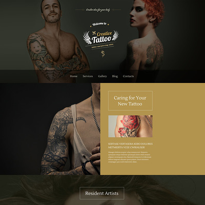 Creative Tattoo WordPress Theme (WordPress theme for tattoo studios) Item Picture