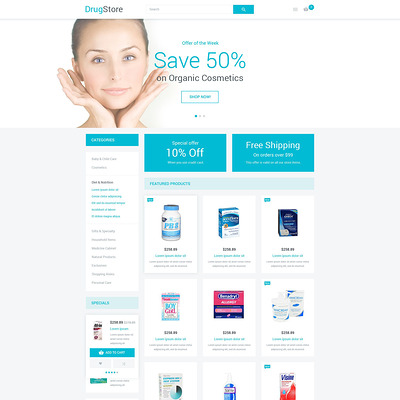 Drugstore Magento Theme (Magento theme for medical and health stores) Item Picture