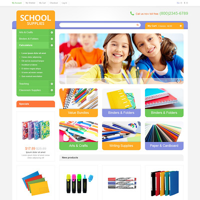 Educational School Supplies Magento Theme (Magento theme for office supplies and stationery) Item Picture