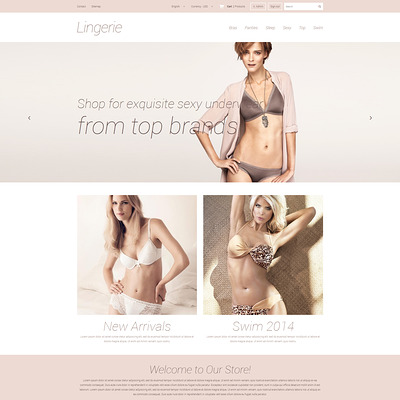 Elegant Lingerie PrestaShop Theme (PrestaShop theme for lingerie and swimwear) Item Picture