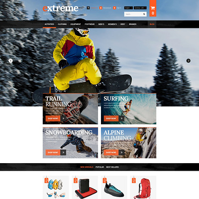 Extreme Clothes & Gear PrestaShop Theme (PrestaShop theme for sports stores) Item Picture