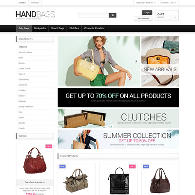 Fancy Bags PrestaShop Theme (PrestaShop theme for womens clothing) Item Picture