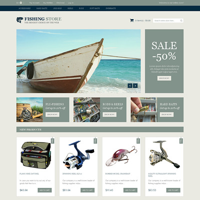 Fishing Accessories Magento Theme (Magento theme for fishing equipment) Item Picture