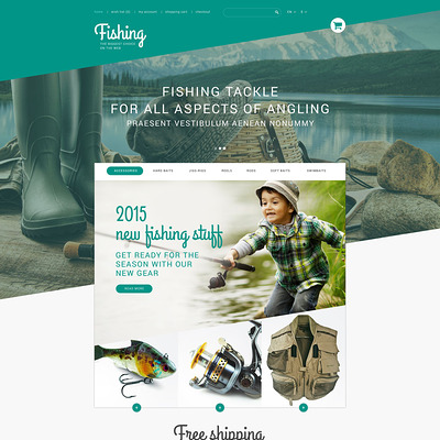 Fishing Store PrestaShop Theme (PrestaShop theme for fishing stores) Item Picture