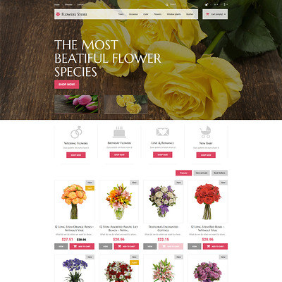 Flowers Store PrestaShop Theme (PrestaShop theme for florists and flower shops) Item Picture