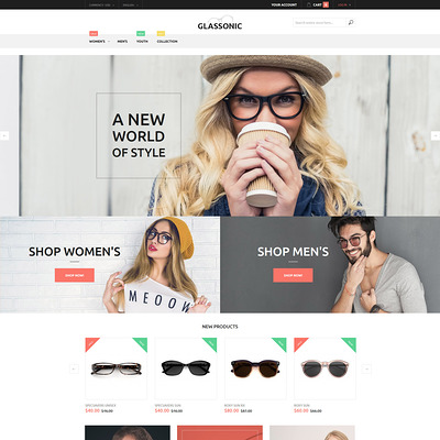 Glassonic Magento Theme (Magento theme for selling sunglasses) Item Picture