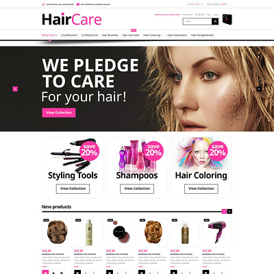 Hair Care Magento Theme (Magento theme for hair and beauty products) Item Picture