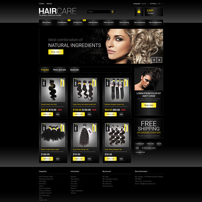 Hair Studio PrestaShop Theme (PrestaShop theme for hair extensions and hair products) Item Picture