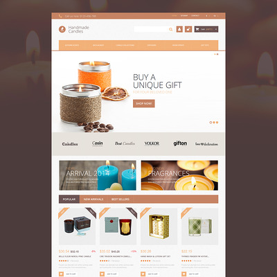 Handmade Candles PrestaShop Theme (PrestaShop theme for gift shops) Item Picture