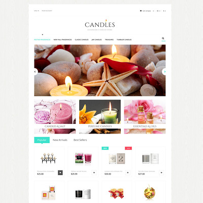 Handmade Candles Store PrestaShop Theme (PrestaShop theme for gift shops) Item Picture