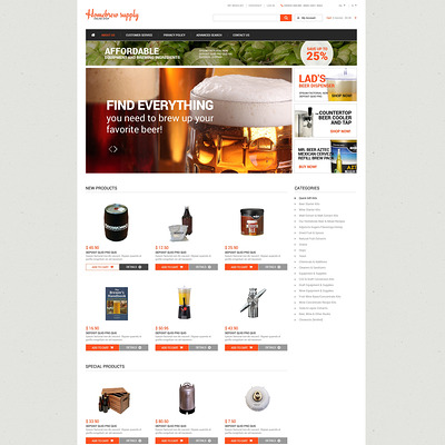 Homebrew Supply Shop Magento Theme (Magento theme for selling beer, wine, and liquor) Item Picture