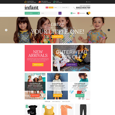 Infant Clothes PrestaShop Theme (PrestaShop theme for clothing for babies, kids, and children) Item Picture