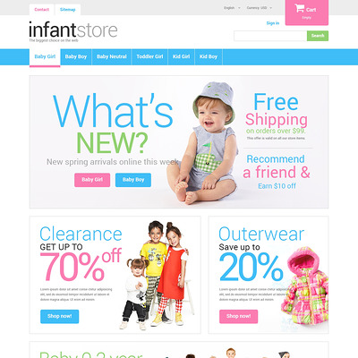 Just for Kids PrestaShop Theme (PrestaShop theme for clothing for babies, kids, and children) Item Picture