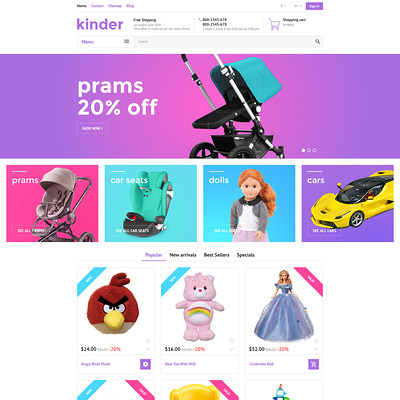Kinder PrestaShop Theme (PrestaShop theme for toy stores) Item Picture