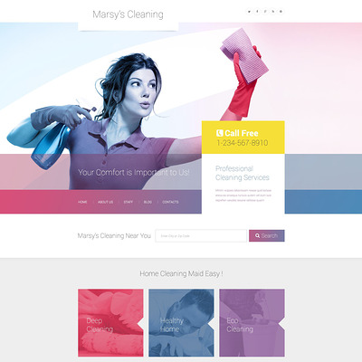 Marsy's Cleaning WordPress Theme (WordPress theme for cleaning companies and maid services) Item Picture