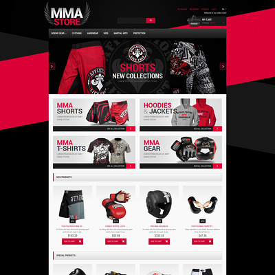 Martial Arts Responsive Magento Theme (Magento theme for sports stores) Item Picture
