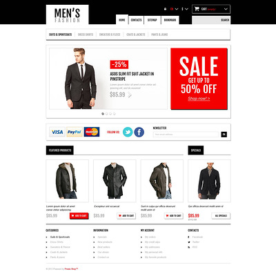 Men's Fashion Boutique PrestaShop Theme (PrestaShop theme for mens clothing) Item Picture