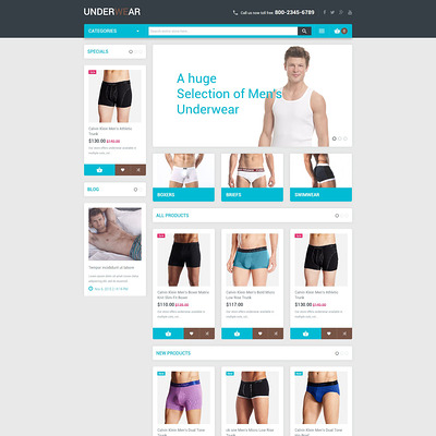 Mens Underwear Magento Theme (Magento theme for selling lingerie and underwear) Item Picture
