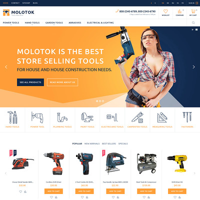 Molotok PrestaShop Theme (PrestaShop theme for selling tools) Item Picture