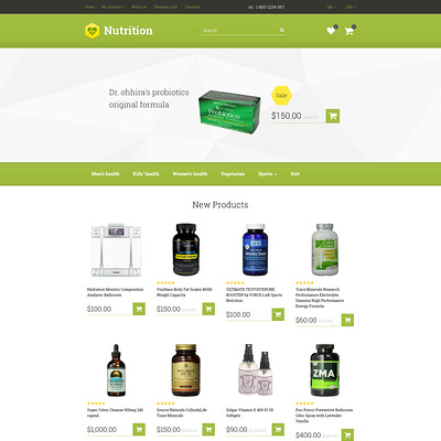 Nutrition/Supplements OpenCart Template (OpenCart theme for health and medical stores) Item Picture