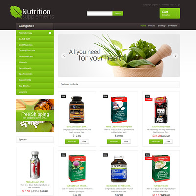 Nutrition Supplements PrestaShop Theme (PrestaShop theme for health and medical stores) Item Picture