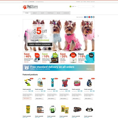 Pet Shop Responsive WooCommerce Theme (WooCommerce theme for animals and pets) Item Picture