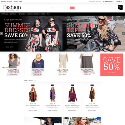 Plus Size Women Clothing Magento Theme (Magento theme for mens and womens clothing) Item Picture